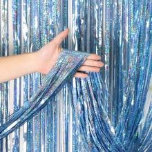 2 м 3 м 4 М Металлическая бахрома из фольги мерцающий фон для свадебной вечеринки украшение стены фото стенд фон Лазерная мишура блестящие занавески