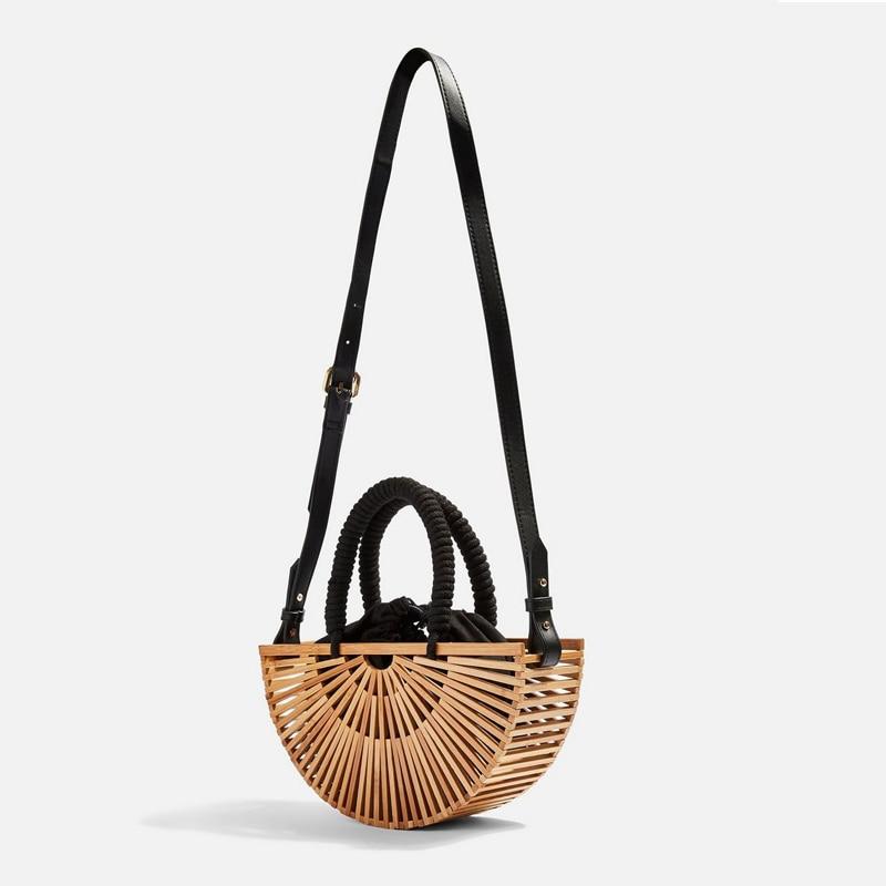 Bolsa de Praia ao ar Estilo Antigo Moda Criativa Bambu Tecido Bolsa um Ombro Crossbody Rattan Livre Ambiental