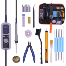 цены PIGONG 908+ LED Digital Soldering Station Mini Portable Adjustable Electric soldering iron Welding tools kit set