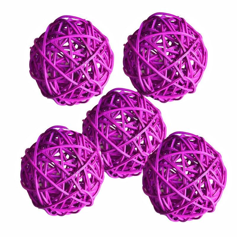 Ротанговые плетеные тростниковые шары диаметром 5 см для сада патио, свадебные, вечерние украшения, DIY для тайского стиля гирлянды - Цвет корпуса: light purple