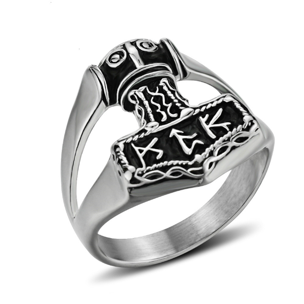 Dropshipping Stainless Steel Nordic Myth Viking thor hammer with rune High Quality fashion wholesale ring fashion jewelry(China)