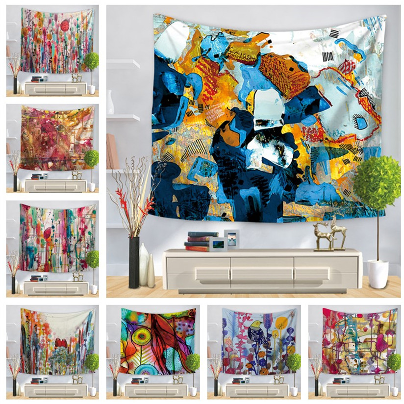 Watercolor Art Wall Hanging Tapestry For Home Psychedelic Decoration Shawls Scarves Bedroom Decor Hippie Colorful Beach Towels