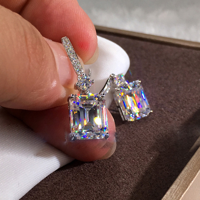 2020 New Trendy Princess 925 Sterling Silver Bridal Earrings For Women Anniversary Gift Jewelry Wholesale Moonso E5606