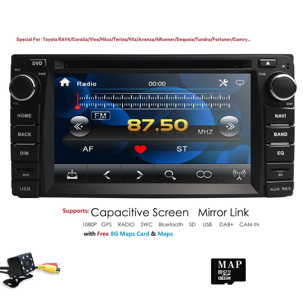 2020new 2 DIN автомобильный DVD GPS плеер для Toyota RAV4/CAMRY/COROLLA авто радио двойной din с GPS BT  рулевое колесо управления RDS CAM title=