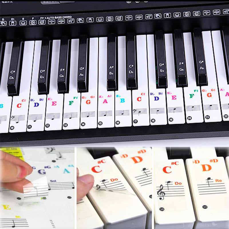 Piano Keyboard Stickers Colorful Transparent For Piano Keys Stickers For 88/61/54/49/37 Full Set Stickers Piano Spectrum Sticker