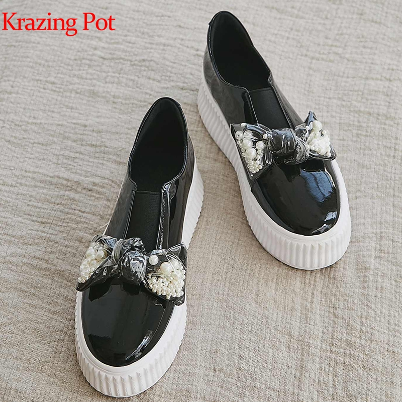 Krazing Pot Platform Genuine Leather Pearl-studded Sneaker Round Toe Women Butterfly-knot Quality Princess Vulcanized Shoes L42