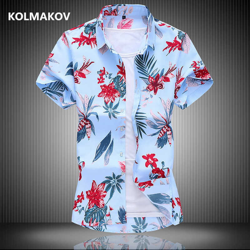 2020 New Arrival Summer Flower Design Casual Shirts Men,men's  High Quality Shirts,Short Sleeve Shirts Men Plus-size M-7XL