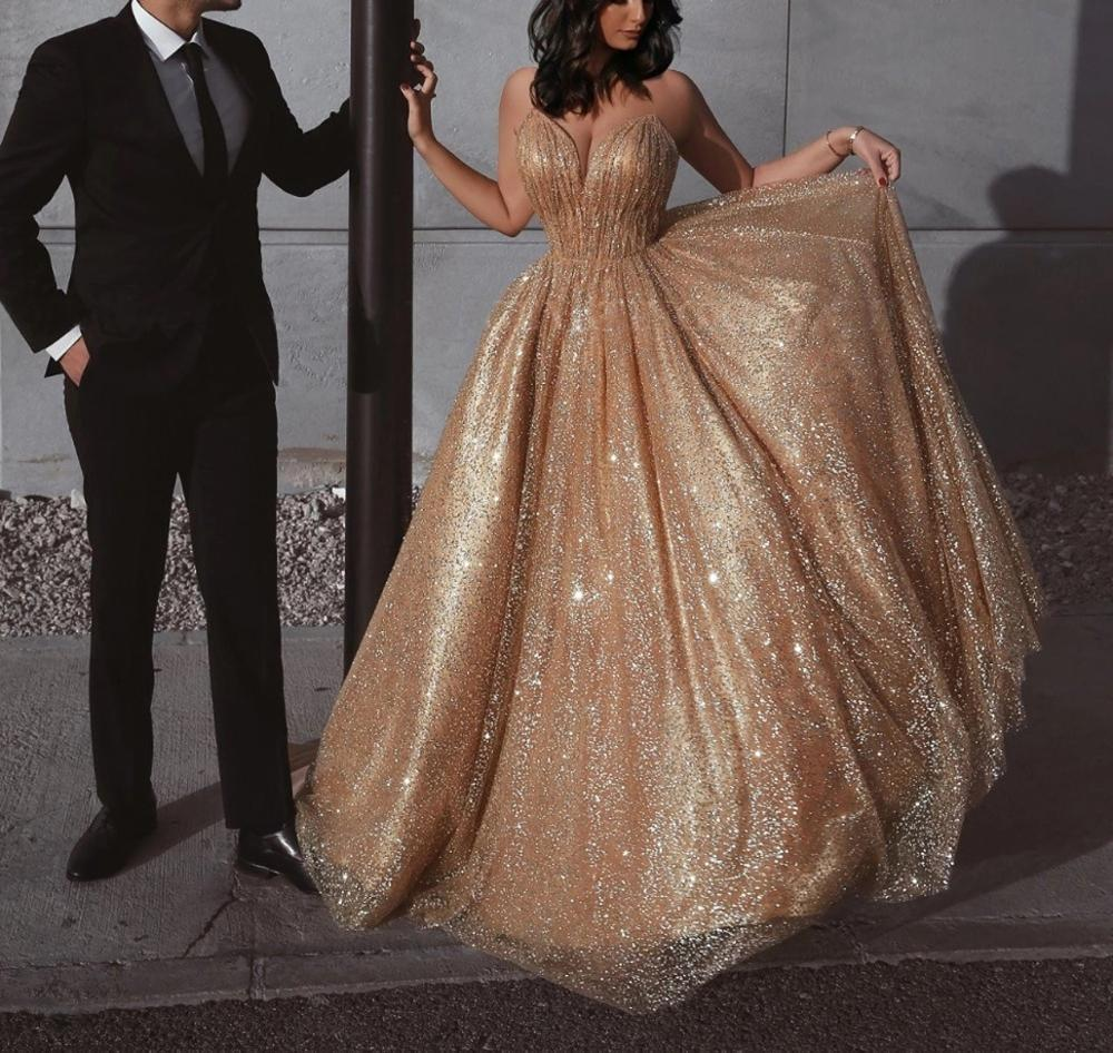 2020 Long Glitter Prom Dresses Spaghetti Straps Backless Aline Formal Evening Party Ball Gowns Robe De Soiree