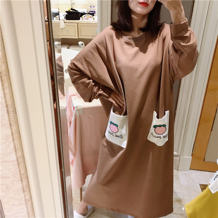 Nightgown Women's Long Sleeve Autumn White Pocket Chocolate M-XXL 5 Color