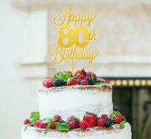 Feliz 80th Cumpleaños Pastel Topper ochenta Mamá Dad Hermana Hermano Brillo