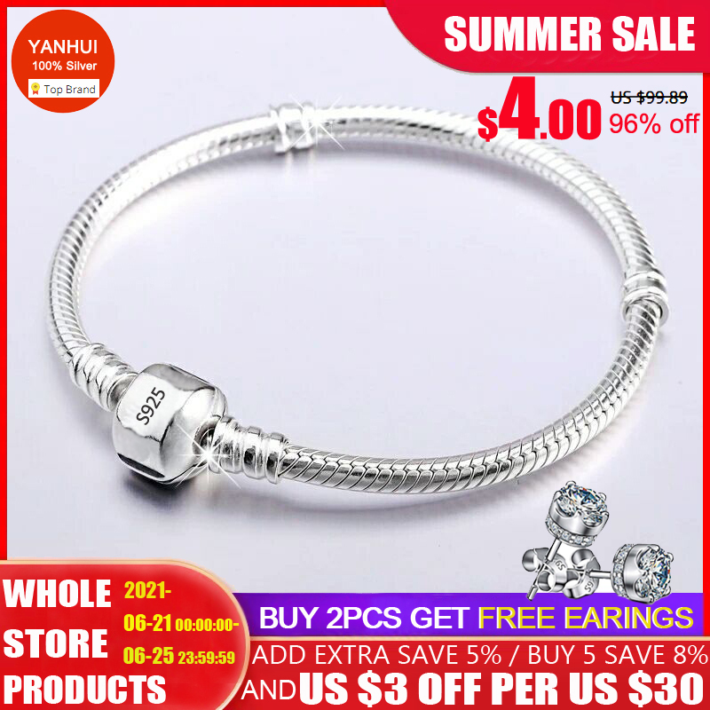 Never fade Silver 925 Chain Charm Bracelet with S925 Logo Fit DIY Beads Charms Women Handmade Christmas Gift Original Jewelry