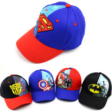 Cosplay costume Kids American Super hero Boys Bat Spider man Hat cartoon Iron Cool Funny baseball cap Adjustable