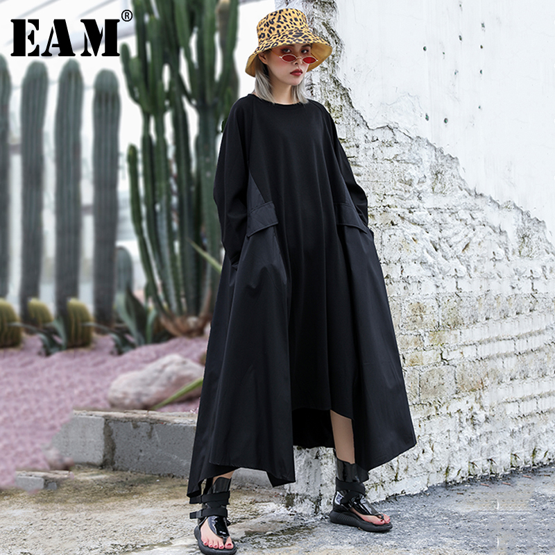 [EAM] Women Dress New Round Neck Long Sleeve Irregular Personality Loose Fit Oversize Pockets Fashion Spring Autumn 2019 JZ294