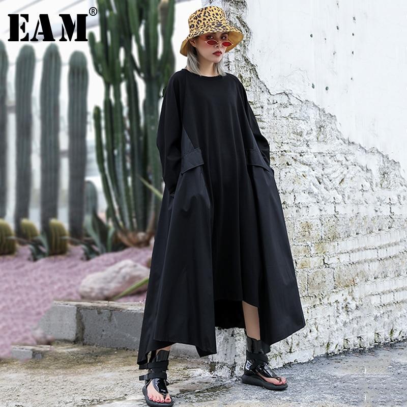 [EAM] Women Dress New Round Neck Long Sleeve Irregular Personality Loose Fit Oversize Pockets Fashion Spring Autumn 2020 JZ294