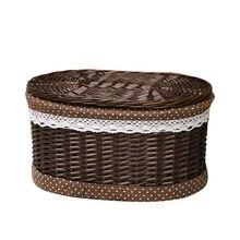 Корзина для белья ручной работы плетеная с крышкой циркулярная