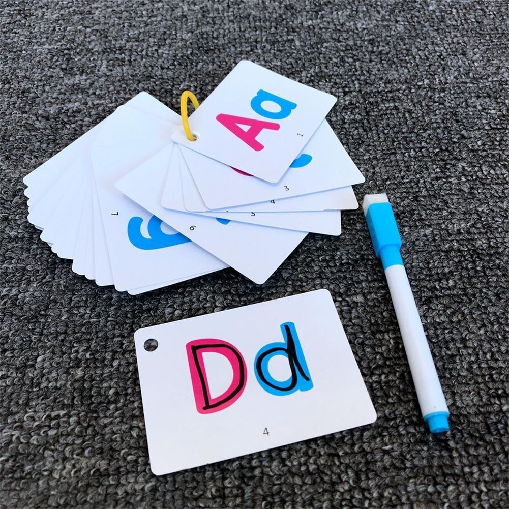 27 pièces Alphabet lettre carte de traçage lettres éducatives lire écrire Alphabet d'apprentissage avec un stylo cadeau préscolaire