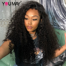 250 Density Brazilian Curly Human Hair Wigs Pre Plucked Baby Hair Fake Scalp 13X6 Curly Lace Front Wigs For Women You May U Part