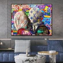 Canvas Painting Street Graffiti Pop Art Kiss Poster Print Wall Art Picture For Living Room Home Decor Frameless