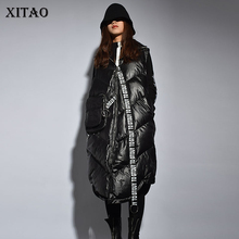 Vest Female Patchwork Winter Women XITAO Streetwear Full-Sleeve Fashion New Letter Turn-Down-Collar