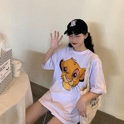 Женская футболка с короткими рукавами, винтажная уличная Футболка с принтом из мультфильма «Король Лев», 90s