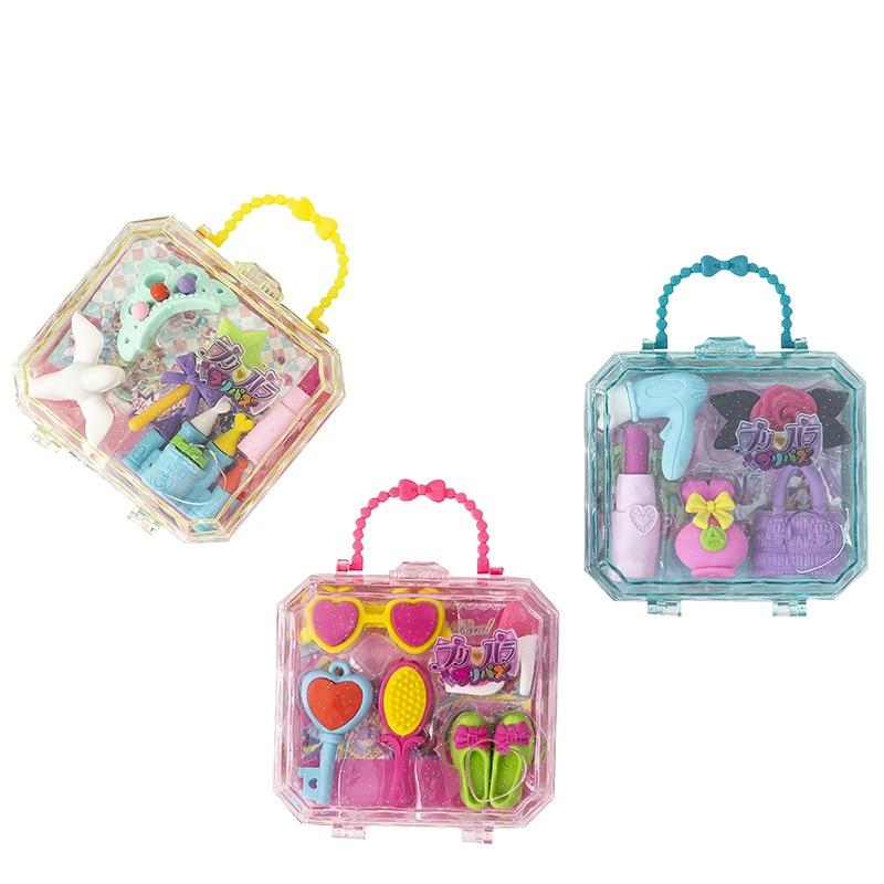 Novelty Creative Castle Princess Series School Kids Erasers Set Stationery Supplies Handbag Gift Packing