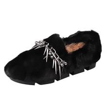 Зимняя Теплая обувь на плоской подошве с мехом норки; Плюшевые мокасины ручной работы с заклепками