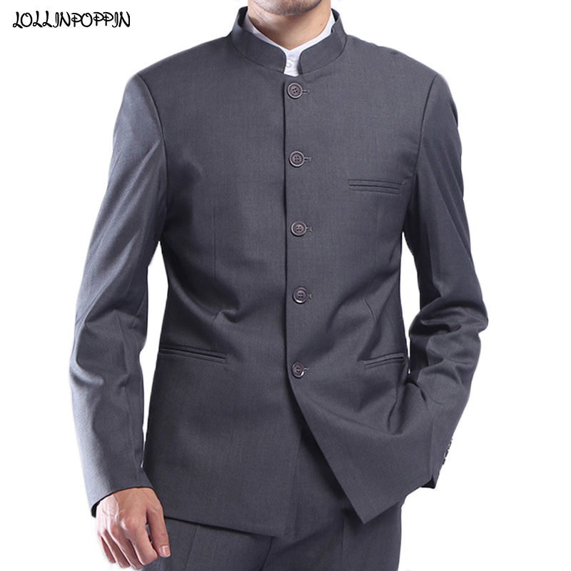 Men Gray Tunic Suit Jacket Mandarin Collar Single Breasted Chinese Traditional Stand Collar Grey Tunic Jacket Uniform Jacket