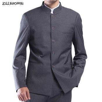 Men Gray Tunic Suit Jacket Mandarin Collar Single Breasted Chinese Traditional Stand Collar Grey Tunic Jacket Uniform Jacket фото