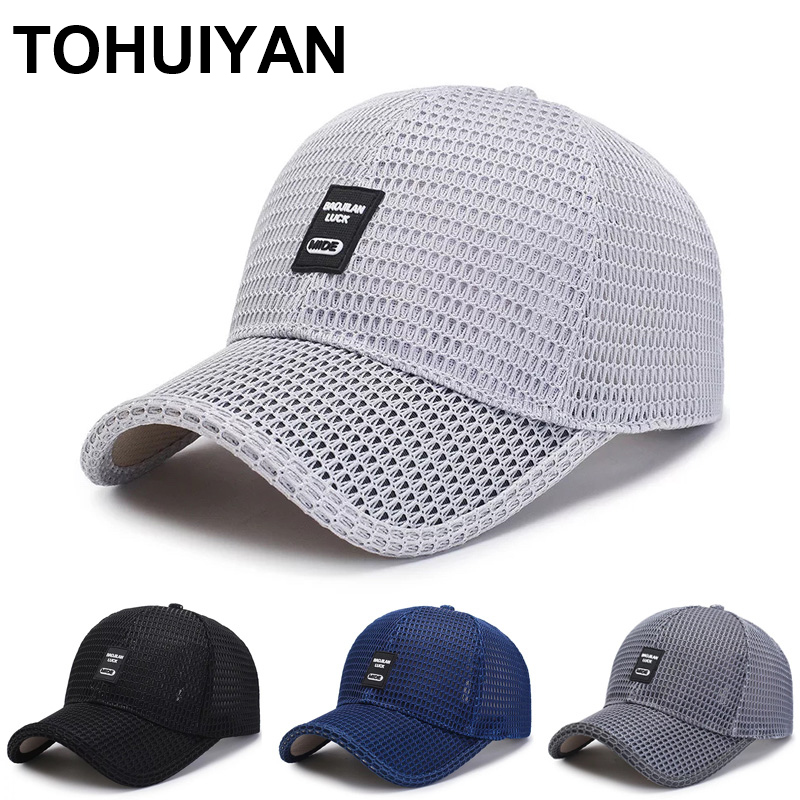 Top Level Summer Baseball Hat For Men Breathable Mesh Trucker Cap Fashion Curved Visor Casquette Homme Casual Women Sun Caps