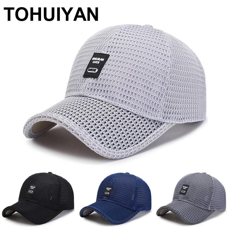 Top Level Summer Baseball Hat For Men Breathable Mesh Trucker Cap Fashion Curved Visor Casquette Homme Casual Women Sun Caps