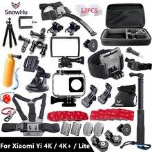 SnowHu für Xiaomi YI 4K Zubehör Kit Set Stativ Einbeinstativ Kopf Cheat Strap Bag Adapter Halterung für YI 4K + für YI Lite Kamera GS27
