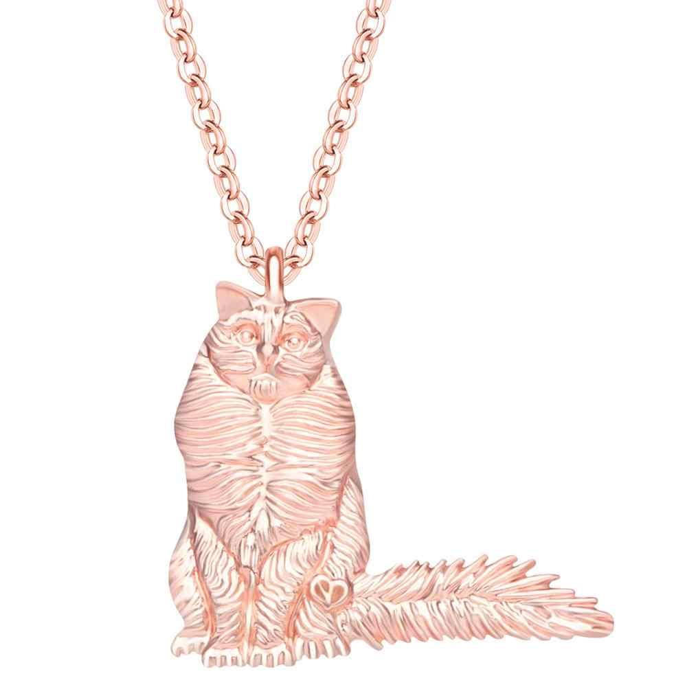 Arwa Paduan Berlapis Perak Antik Elegan Berbulu Kucing Kucing Kalung Liontin Mental Hewan Peliharaan Perhiasan untuk Wanita Muda Gadis Pesona Hadiah