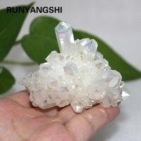 Runyangshi 1pc rzadki piękny biały płomień aura kwarcowy bryła kryształowa próbki galwaniczną z kamienia naturalnego