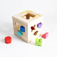 12 Holes Intelligence Baby Blocks Match Shape Learning Bricks Wooden Shape Sorter Cube Building Blocks Educational Toys