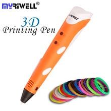 Myriwell magia 3d caneta diy desenho 3d impressão caneta com abs filamentos brinquedo criativo presente para crianças design para presente de aniversário