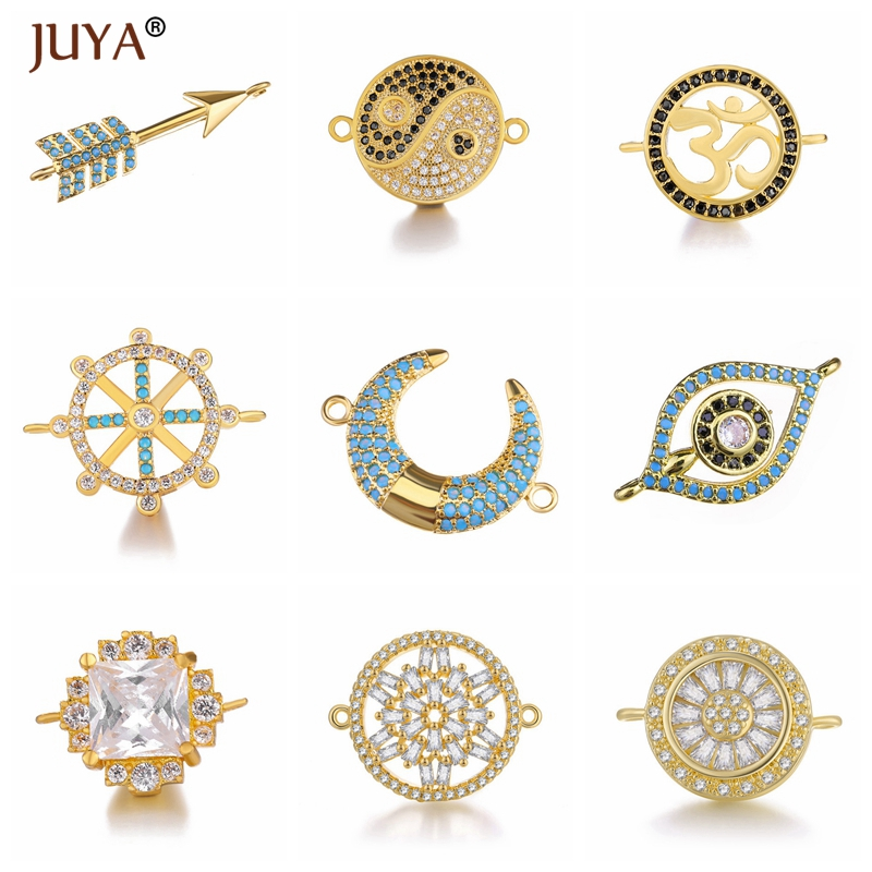 Juya Shiny Zircon Crystal Jewellery Findings Accessories Trendy Series 10 Types Connector Charms DIY Jewelery Components