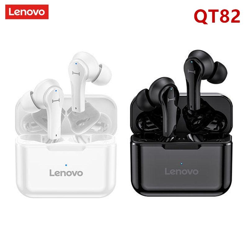 Lenovo QT82/81 наушники-вкладыши TWS с беспроводного Bluetooth (голубой зуб) наушника V5.0 сенсорное управление стерео наушники HD говорящая IPX5 водонепрон...