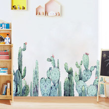 Removable Cactus Plant Wall Sticker for Living room Bedroom Corner Eco-friendly DIY Vinyl Wall Decal Art Wall Murals Home Decor grazing wall sticker home wall decor living room bedroom wall decal removable wall art mural jh206