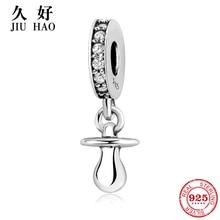 925 Sterling Silver Return to childhood Baby Pacifier zirconia Pendants beads Fit Original Pandora Charm Bracelet women Jewelry