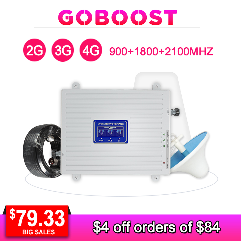 GSM 2G 3G 4G Signal Repeater Cellular Signal Booster Tri Band LTE 900 1800 2100 70dB Mobile Phone Amplifier LDPA Antenna Kit -