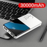 높은 용량 전원 은행 30000mAh 휴대용 충전기 Poverbank 아이폰 11 삼성 S8 Xiaomi mi Powerbank LED 전원 디스플레이