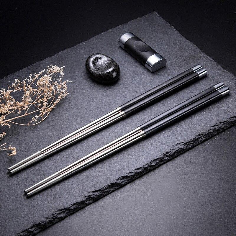 1 пара китайских Нержавеющаясталь металлические палочки дозирующая детская ложка для багет Chinoise Кухня инструмент суши-бар Еда бар Вишня в ...
