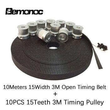 10 Meters Polyurethane 3M Timing Belt Width 15mm + 10PCS 15 Teeth 3M Pulley Bore 5/6/6.35/8mm For HTD 3M CNC Engraving Machine цена 2017