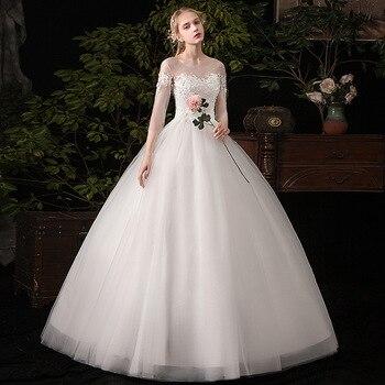 luxury embroidery bridal gown O neck marriage anniversary gown lace up wedding dresses vestido de noiva /свадебное платье