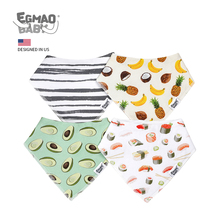 Baby Bandana Drool Bibs for Teething and Drooling Unisex Baby Bibs for Boys and Girls 4 Pack Soft 100% Organic Cotton Bibs