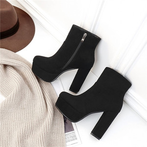 Image 5 - MORAZORA 2020 new top quality faux suede boots women high heels platform ankle boots for women zipper autumn winter shoes female