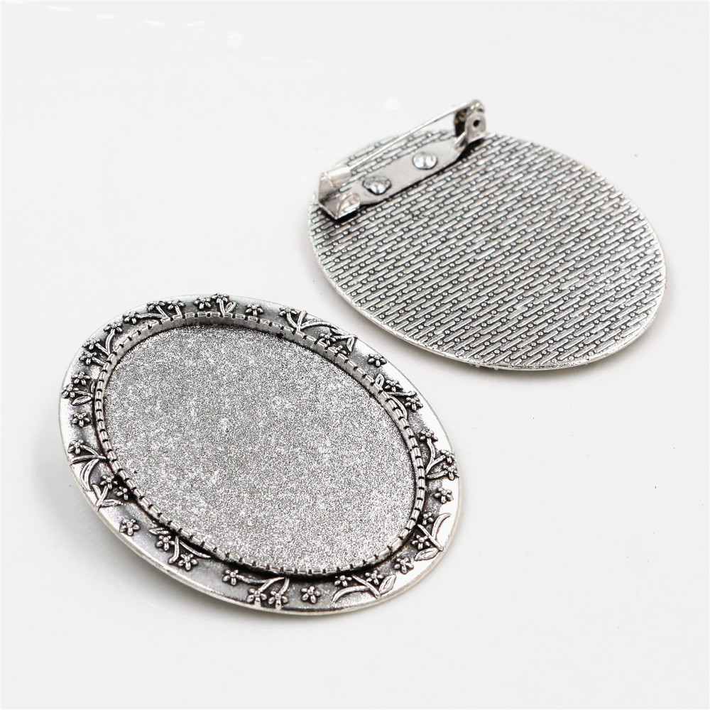 New Fashion  5pcs 30x40mm Inner Size Antique Silver Plated Pin Brooch Flowers Style Base Setting Pendant (B3-45)