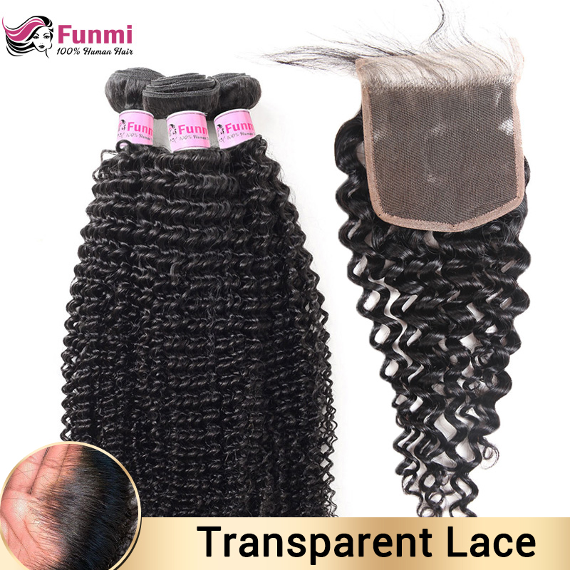Kinky Curly Bundles With Closure Malaysian Hair Weave Bundles With Closure Human Hair Bundles With Closure Hair Non-Remy Funmi