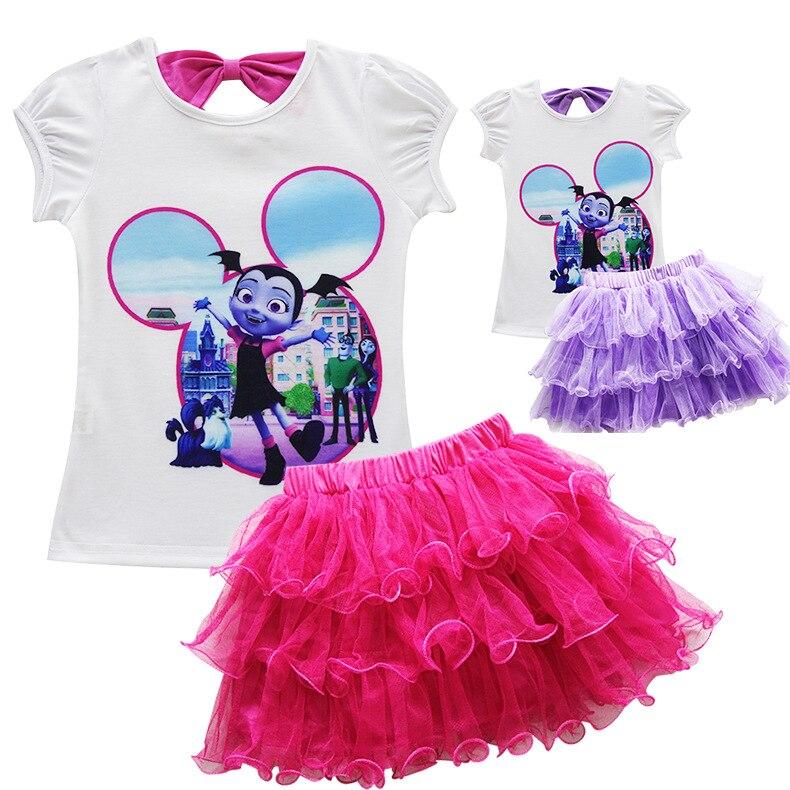 Toddler Girls Summer Casual Poppy Skirt Cartoon Troll's Vampire Vestidos Wig Legging Baby Girls Clothes Dress For Kids Costume 4