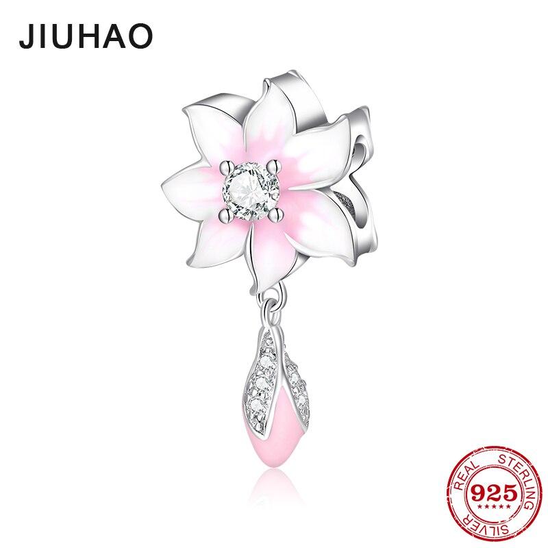 Pink Enamel Flower CZ Charms Beads Dangle Bud Silver 925 Fit Original Pandora Charm Bracelets Pendant Jewelry Making gifts 2018(China)